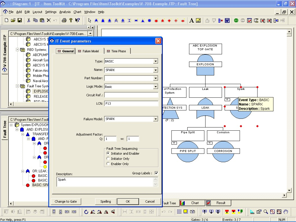 fault tree Fta software tool allowing to perform fault tree analysis, minimal cut sets generation, importance-sensitivity analysis integrated into ram commander with reliability&maintainability prediction, fmea, fmeca, event.